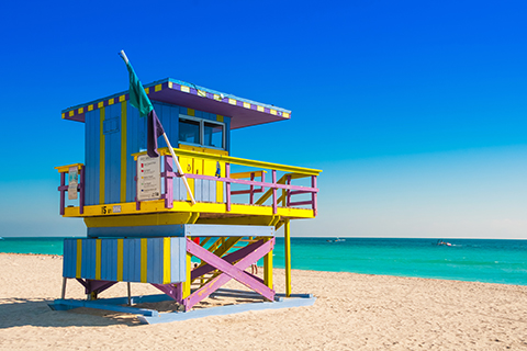 A stock photo of a lifeguard station on South Beach, Miami, Florida.