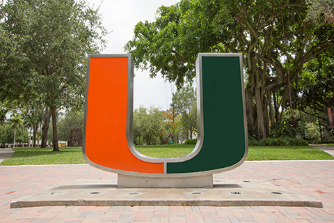 "A photo of ""The Rock;"" The U statue at the University of Miami Coral Gables campus."